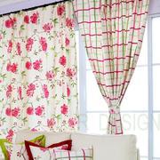 白底红花式新款窗帘设计