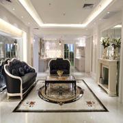 美式新古典客厅瓷砖地面设计