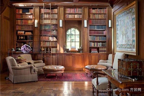 欧式豪华书房装修效果图