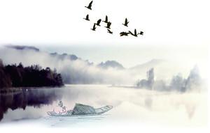 中国山水画背景墙图片