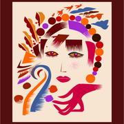 抽象式人物脸部装饰画