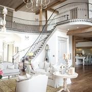 白色典雅型复式楼楼梯效果图