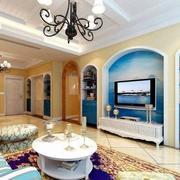 蓝色地中海式欧式公寓设计