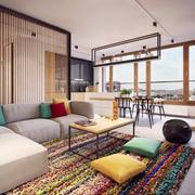 彩色混搭式卧室隔断设计