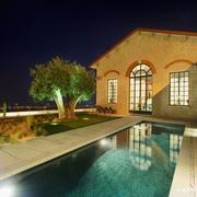 欧式乡村型别墅户外游泳池设计