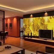 金黄色大气型客厅玻璃墙