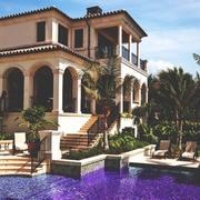 紫色浪漫型大型别墅游泳池设计