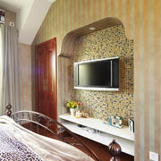 波点图案形式电视墙设计