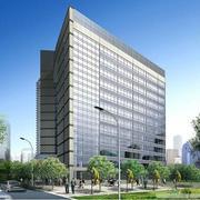 城市中心繁华大楼室外玻璃效果