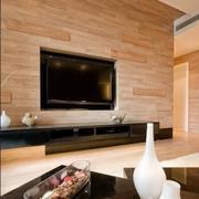 欧式原木色电视墙设计