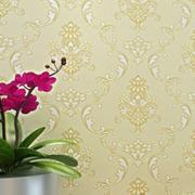 黄色复古式壁纸装修