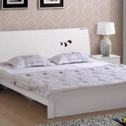 白色欧式小双人木床设计