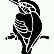 啄木鸟形象剪纸图案