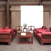 中式红色曲美沙发设计