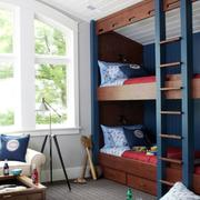 深蓝色大型双层床设计