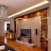 几何图案式玻璃电视墙设计