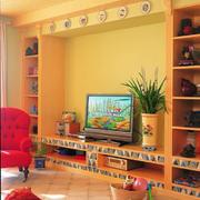 温暖橙色系电视墙设计