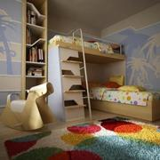 黄色儿童房床铺设计