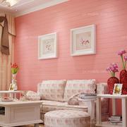 浪漫纯色系客厅背景墙设计