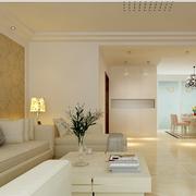 白色客厅典雅式设计效果图