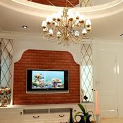 欧式红砖木简约式客厅电视背景墙