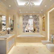 浴室白色瓷砖地面装修
