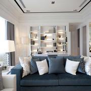 简约客厅墨绿色沙发设计