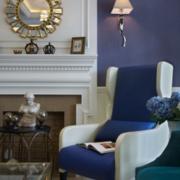 地中海优雅式紫色客厅设计