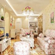 韩式淡雅粉色系沙发设计
