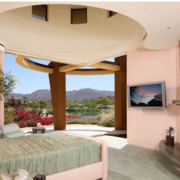 粉色优雅型背景墙