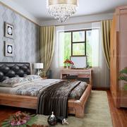新中式卧室简约冷色系床头背景墙设计