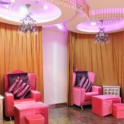 重粉色美甲店设计