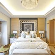 新古典卧室几何图案床头背景墙设计