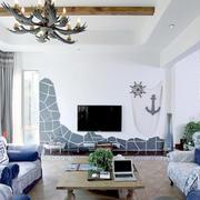 淡蓝色混搭白色地中海家装设计
