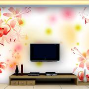 欧式牡丹花式简约客厅电视背景墙
