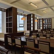 新中式图书馆简约式书桌设计