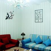 蓝色淡雅式简欧客厅设计