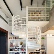 典雅式白色旋转式楼中楼楼梯设计