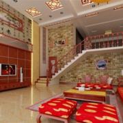 红色楼中楼客厅设计