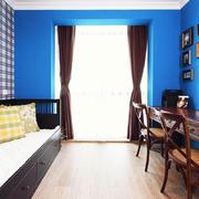美式大户型蓝色背景墙效果图