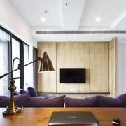 北欧紫色客厅家装设计