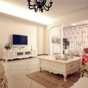 客厅一片白简约电视背景墙