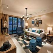 美式客厅蓝色凳子