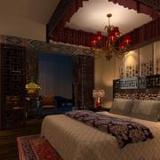 中式装修之深色卧室