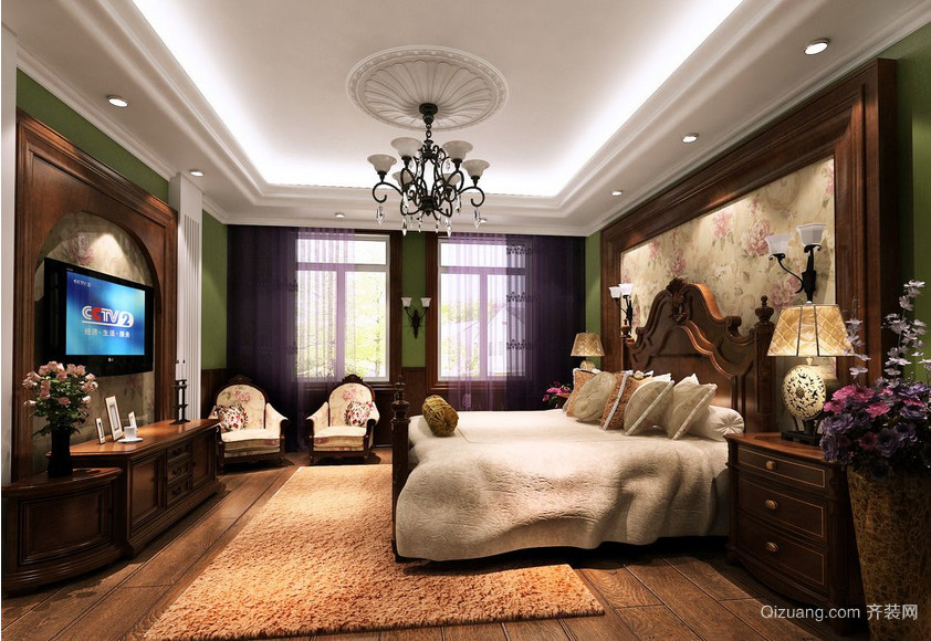 美式别墅大型客厅装修效果图