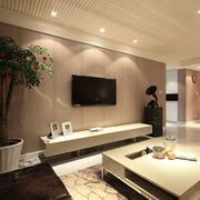 欧式裸色系电视墙设计