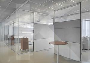80平商务办公室屏风隔断效果图