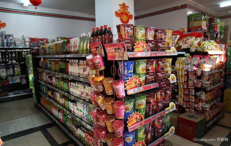 小型超市货架摆放效果图
