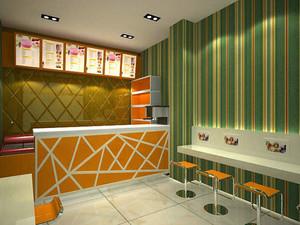 现代简约奶茶吧台装修效果图