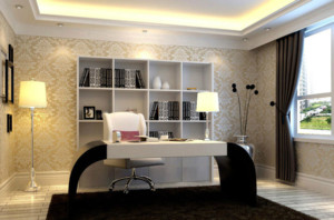 欧式现代简约书房装修效果图